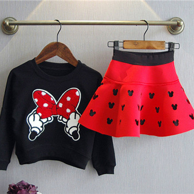 New brand red and black girls spring clothing suit kid cartoon mouse cotton children tops shirt with mini tutu skirt hollow set 2