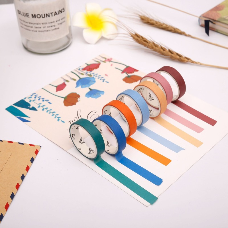 6 Rolls/set Kawaii Washi Tape Set Moranti Watercolor Gradient Washi Tape Set Masking Tape Diary Journal Decorative Washi Tape
