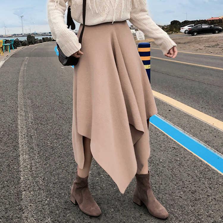 Colorfaith 2019 女性秋冬ロングスカート非対称カジュアル韓国スタイルのファッションの女性の女性のエレガントなスカート SK7772