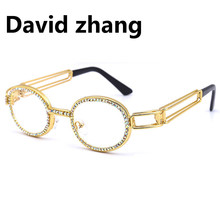 1175 new oval metal frame steampunk sunglasses European  street photography retro rhinestone