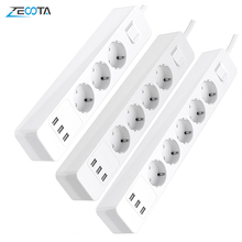 Power Strip Surge Protector 3/4/5 AC EU Outlets Plug Socket with USB Charging Port Overvoltage Protection 1.5m Extension Cord