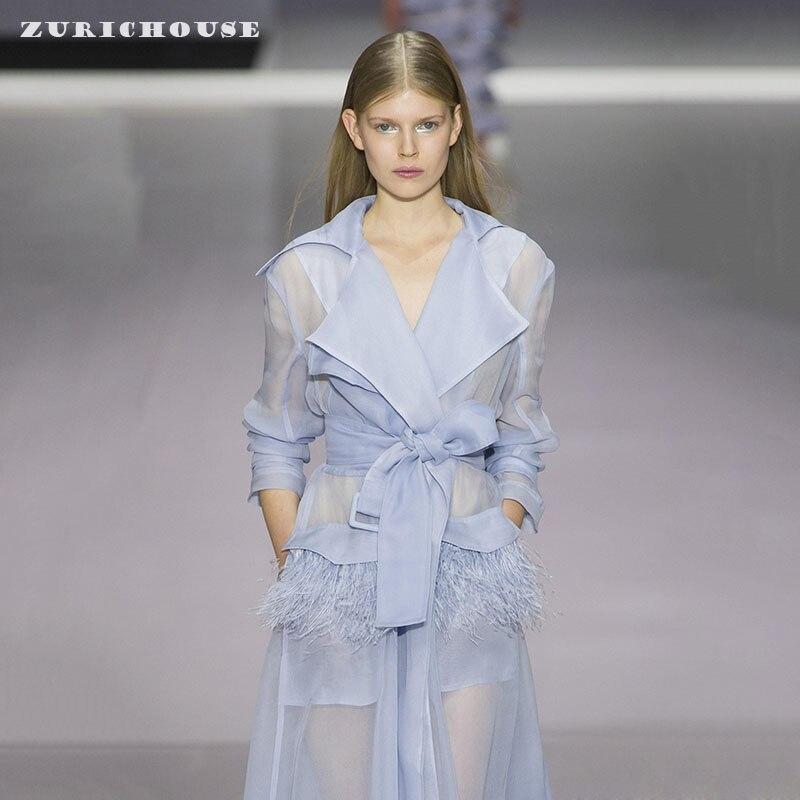 ZURICHOUSE Spring Long Coat Woman High Quality Organza Floral Windbreaker Coat 2020 Elegant Temperament Loose Trench Women