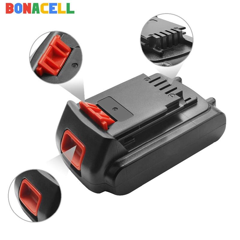 Bonacell 1Pcs 18V/20V 2000mAh Li-ion Rechargeable Battery Power Tool Replacement Battery For BLACK & DECKER LB20 LBX20 LBXR20
