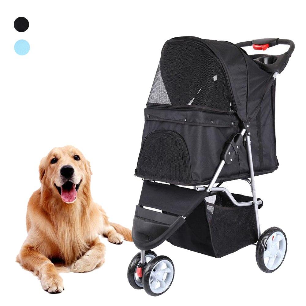 Pet Stroller Cart Puppy Dog Cat Travel Foldable 3 Wheels Trolley Pet Outdoor Jogger Pushchair