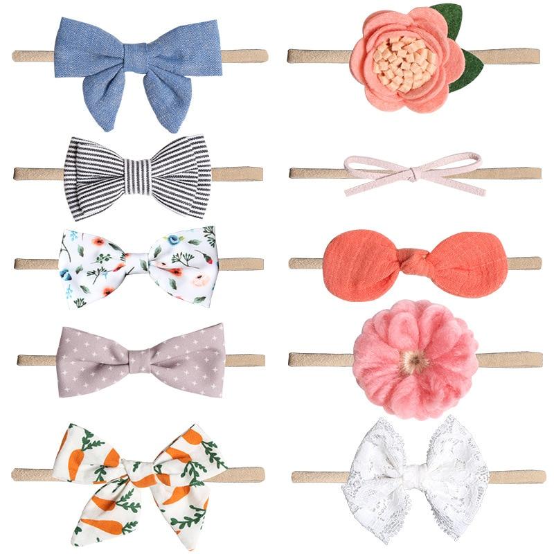 Baby Bows Newborn Girls Flower Headband Boneless Comfort Infant Princess Headdress Kids Girl Turban Headwear Hair Accessories