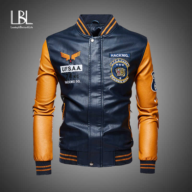 Leren Jas Mannen Bomber Baseball Jassen Biker Pu Jas Faux Pilot Varsity Fleece College Top Leather Black Slim Fit Motorfiets