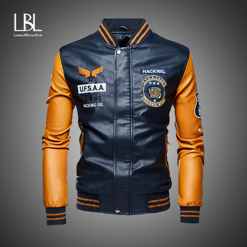 Leather Jacket Men Bomber Baseball Jackets Biker Pu Coat Faux Pilot Varsity Fleece College Top Leather Black Slim Fit Motorcycle