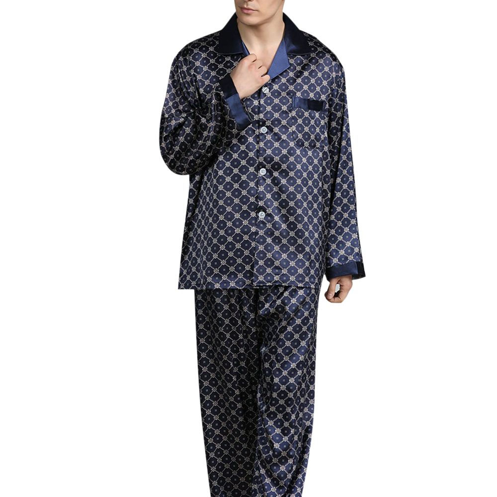 Spring Men Pajamas Sets Fashion Long Sleeve Lapel Thin Loose Pajamas Men Vintage Printed Letters Casual Sleepwear Suit Homewear