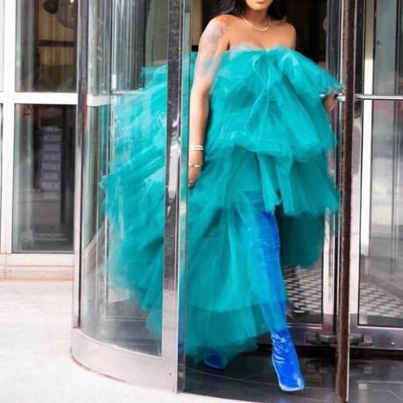 Aqua Abendkleider Tiered Mode Robe de soiree Nach Lange Formale Party Kleid Tüll Off Schulter abiye vestido de festa