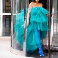 Aqua robes de soirée à plusieurs niveaux mode Robe de soirée personnalisé longue Robe de soirée formelle Tulle épaules nues abiye vestido de festa