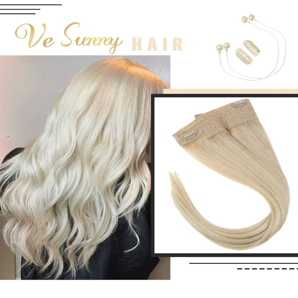 VeSunny One Piece Invisible Halo Hair Extensions Real Human Hair Fish Line Flip In Wire With 2 Clips On Light Blonde #60