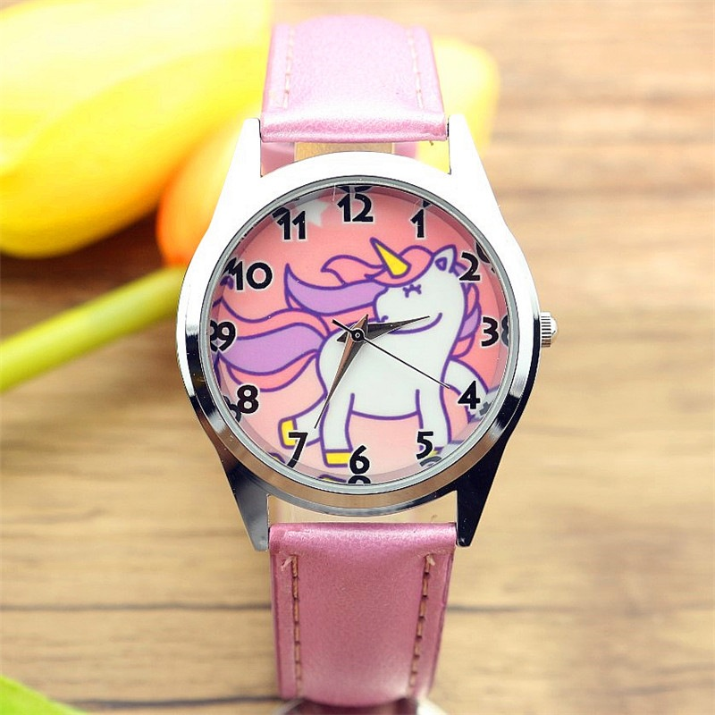 Christmas Gift Cute Unicorn Girl's Boy's Children Watch SportS Jelly Leather Watch HOT Cartoon Watch New Fashion Kids Watch