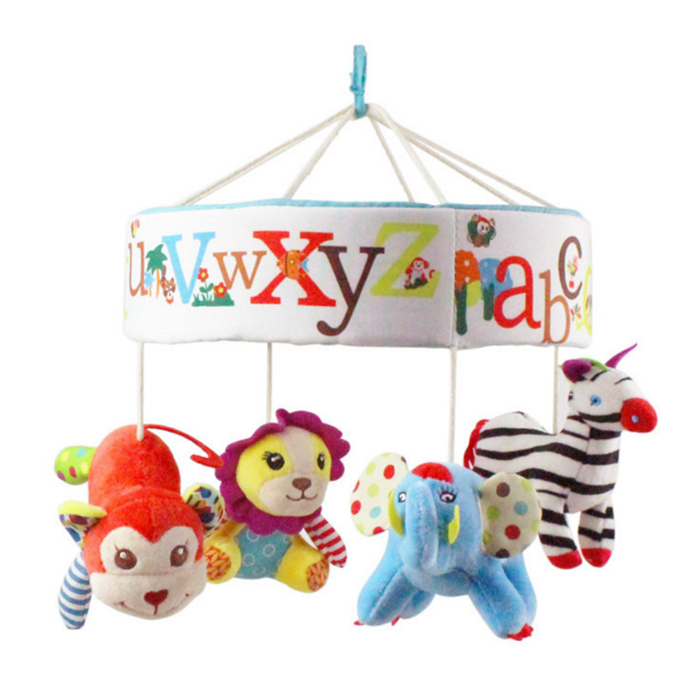 Newborn Musical Bed Bell Baby Crib Decoration Rotate Bracket Rattle Plush Toys Hanging Comforting Toy Cloth No Need For Battery