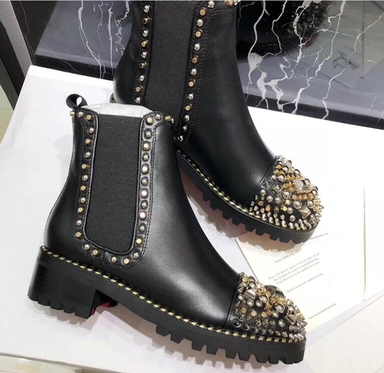 Ankle-Boots Shoes Short Bota Women Fashion Ladies Mortorcycle For Rivets Feminina Mujer