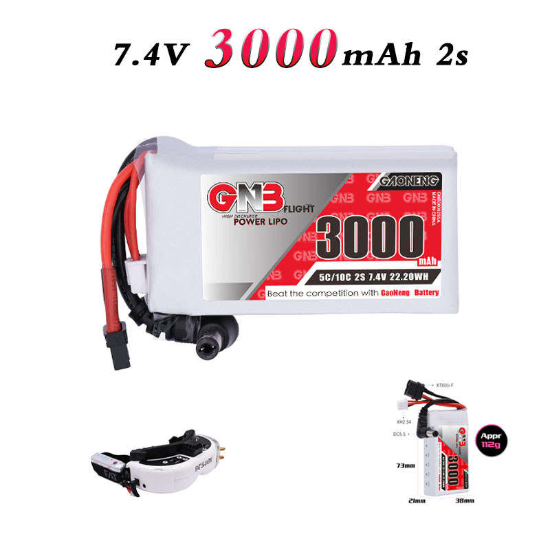 GNB GAONENG <font><b>Lipo</b></font> <font><b>2S</b></font> <font><b>3000mAh</b></font> 7.4V 5C/10C Battery for Fat Shark Dominator FPV Goggles RC Drone RC Receiver With Power Indicator image