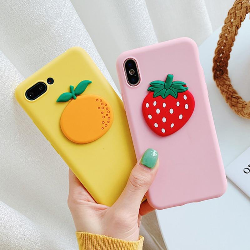 Cute 3D Silicon Fruit Strawberry Case For Moto G7 Power G6 Play G6+ G5S Plus E5 Play E4 Euro X4 Z4 Z3 Play Orange TPU Cover
