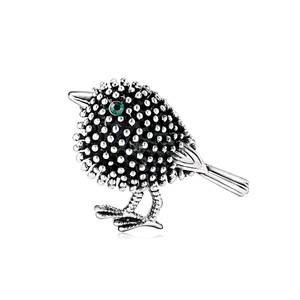 Brooch Sparrow Silver Retro Ornament Compact Hot-Sale Cute New