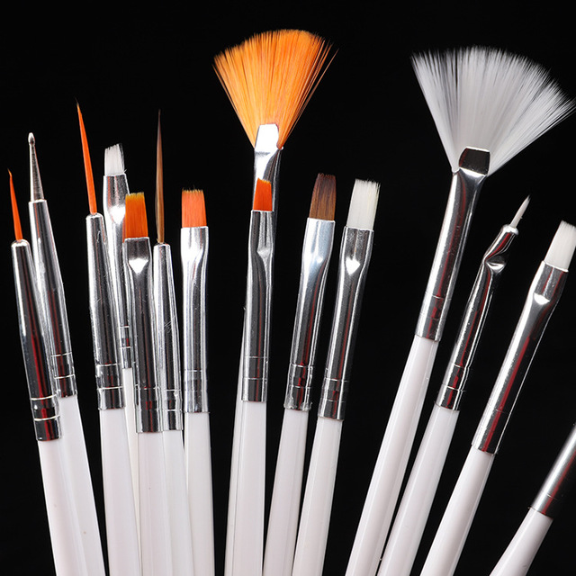 15pcs Long Tail Brush Pen Plastic Handle Pull Hook Line Pen Nail Artists Set Short Miniature Detail Soft Acrylic Oil Art Escolar