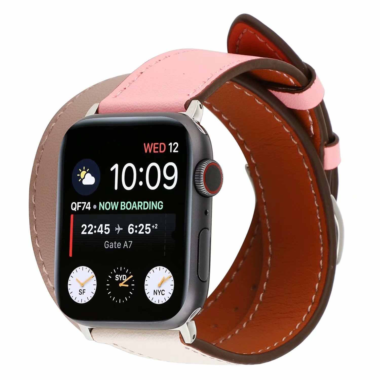 Двойной тур ремешок для Apple Watch Series 5 4 3 2 1 кожаный ремень iWatch 42 мм 38 40 44 Замена