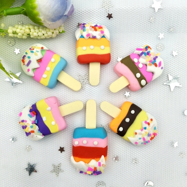 6pcs Mix Color Simulation Popsicle dessert Polymer Figurines stone Miniature scrapbook applique Home Decor ornament craft DIY 5