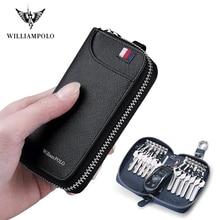WILLIAMPOLO porte clés pour hommes 16 supports 100% en cuir véritable fermeture à glissière clé portefeuille clé organisateur pl186117