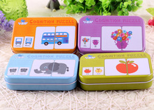 цена Baby Kids Cognition Puzzles Toys Cartoon Vehicle/Animal/Fruit Pair Matching Game Cognitive Puzzle Card for Children Education онлайн в 2017 году