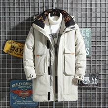 90% duck down men's long down jacket with letters stand-up collar hooded thick jacket zipper down jacket casual winter