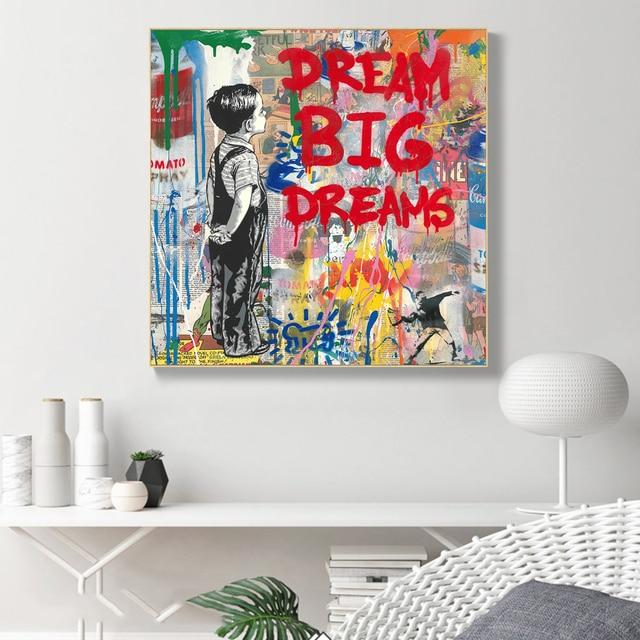 Dream Big Dreams Graffit Painting Printed on Canvas 1