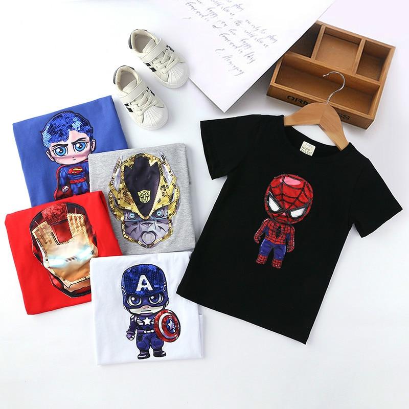 Children Luminous LED Short Sleeve Cotton Spiderman T-Shirts For Boys Iron Man Light Up T Shirt Kids Summer Baby Girls Tops Tees