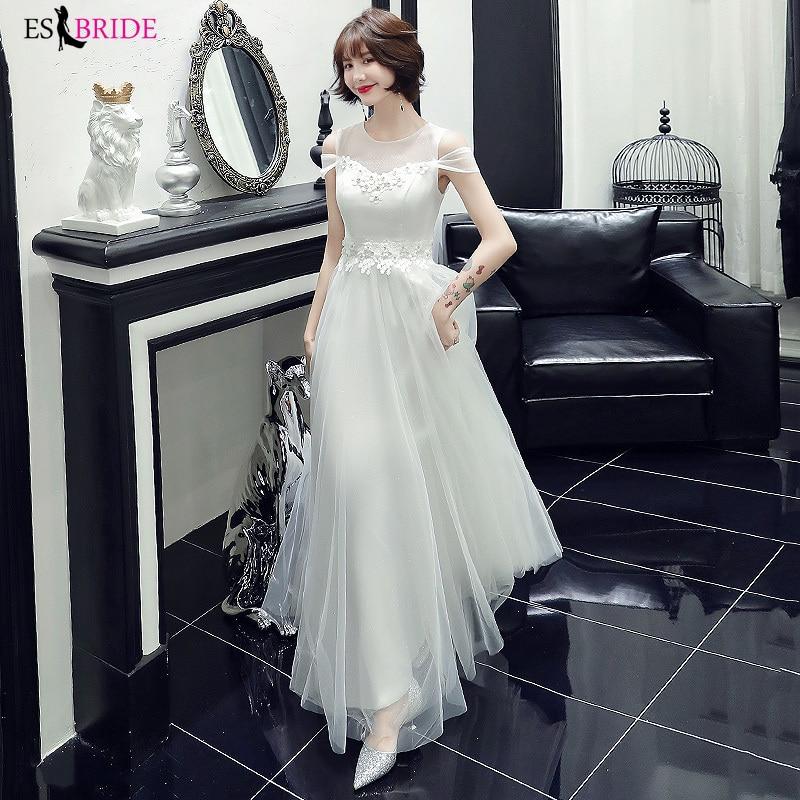 White Elegant Long Formal Dress 2019 ES2384-1 A Line Cap Sleeve Dreams Evening Party Gowns Special Occasion Dresses ES2384