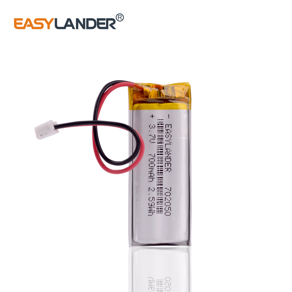 JST 1.25mm 2 pin <font><b>3.7V</b></font> <font><b>700mAh</b></font> 702050 Lithium Polymer <font><b>LiPo</b></font> Rechargeable <font><b>Battery</b></font> For Mp3 DVR PAD DVD bluetooth camera image