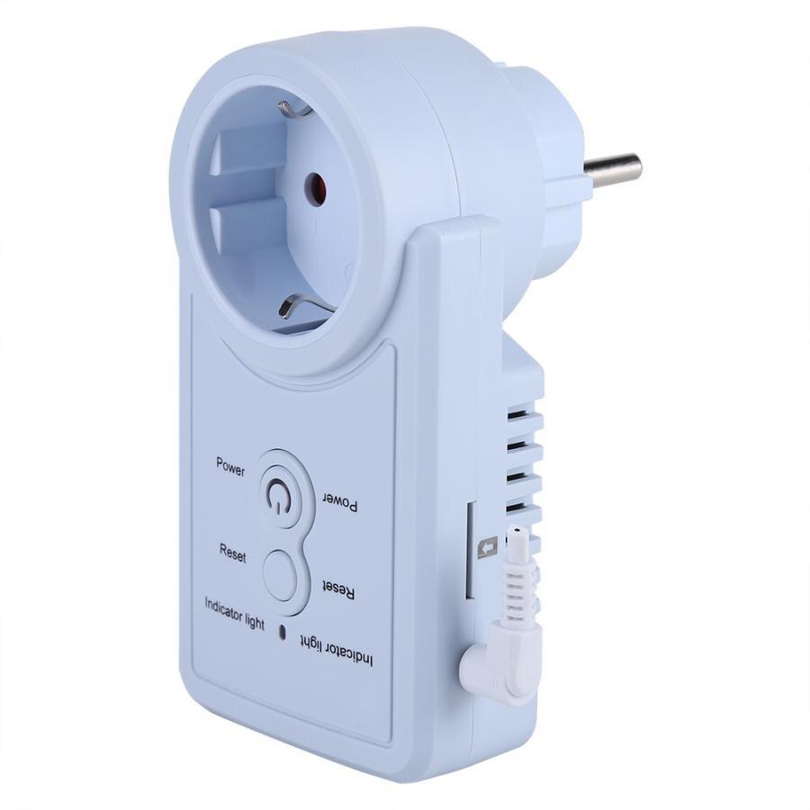 Interruptor de enchufe con toma de corriente GSM inteligente con Sensor de temperatura, Control de comando SMS, versión en ruso/Inglés opcional (Enchufe europeo)