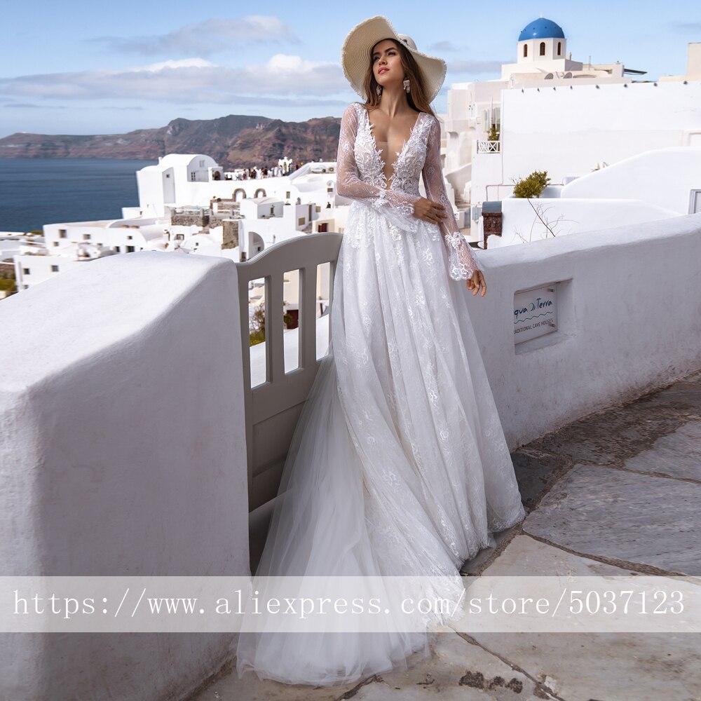 Long Sleeves Wedding Dresses Deep V Neck Lace Appliques A Line Bridal Wedding Gowns Backless Court Train Vestido De Noiva