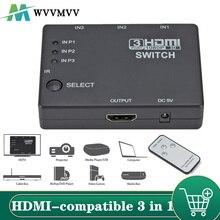 3x1 HDMI-kompatibel Splitter Adapter Hub Auto Schalter 3 In 1 Out Switcher 1080P Fernbedienung für XBOX360 PS3 Projektor HDTV
