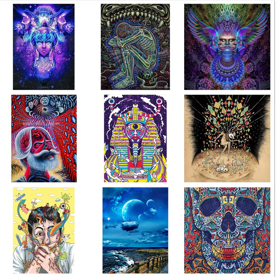 W203 Trippy Psychedelic Visual Abstract Art Silk Poster