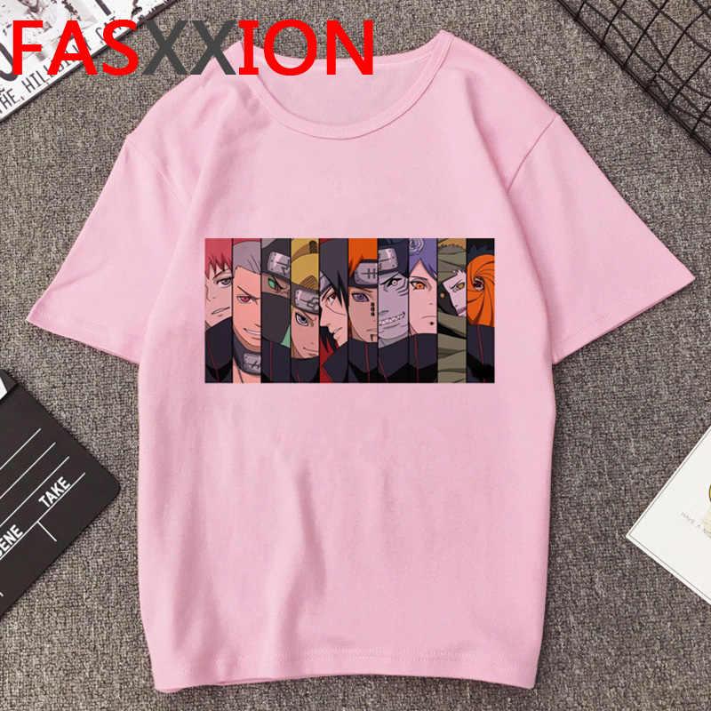 Naruto Akatsuki T Hemd Männer Kawaii Cartoon Print T-shirt Harajuku Japanischen Anime Ulzzang Hip Hop Unisex Kühlen Top Streetwear Männlichen
