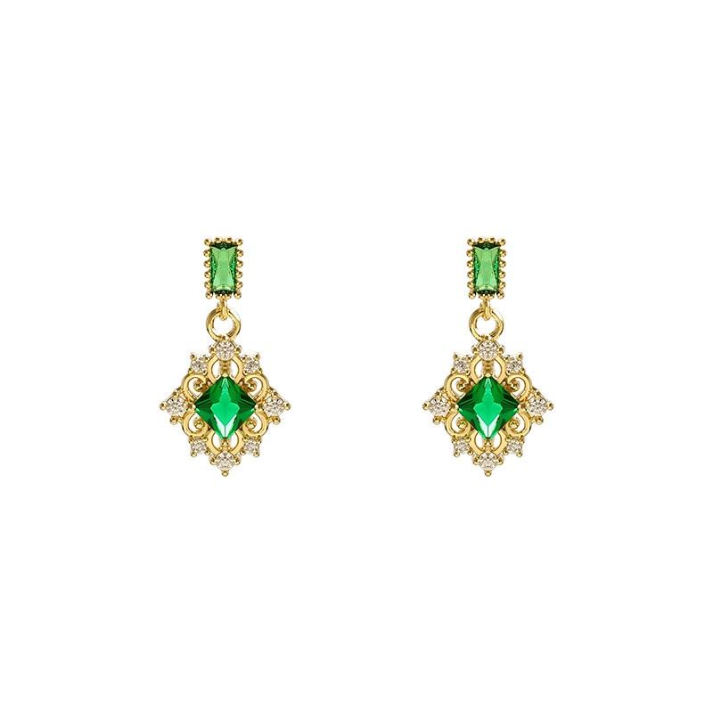 Neoclassical Fashion Geometric Compact Zircon Green Crystal Earrings Luxury Designer Elegance Feminine Jewelry