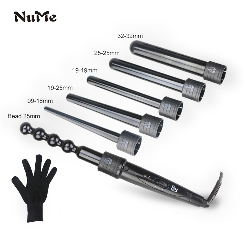 6 In 1 Hair Curler Professional Ceramic Hair Styler Hair Crimper Styling Tools 100-240V Curling Iron With Heat Resistant Glove