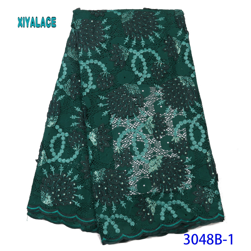 African Lace Fabric Embroidered Nigerian Lace Fabric High Quality 2019 Cotton French Lace Fabric Wedding Party Dress YA3048-1