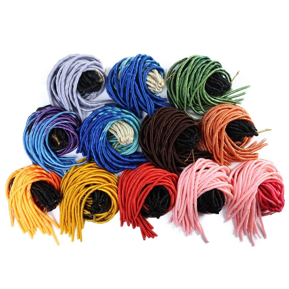 LCHAN  Color Random Transmission Soft Straight Dreadlocks  Synthetic Braiding Hair Extensions  Ombre  Faux Crochet Braids Hair