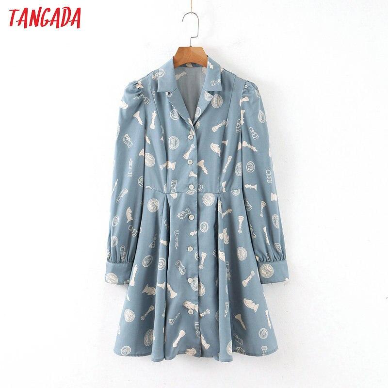 Женское Хлопковое платье-рубашка Tangada, синее платье-туника с отложным воротником и длинным рукавом, короткое платье, QB82