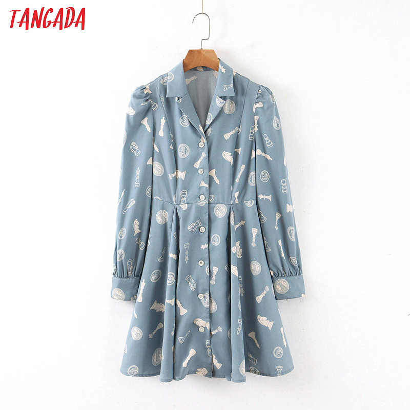 Tangada Fashion Women Blue Print Cotton Shirt Dress Turn Down Collar Long Sleeve Ladies Tunic Short Dress Vestidos QB82