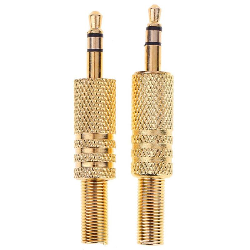 2pcs Gold Replacement 3.5mm 2 Pole Male Repair Headphones Audio Jack Plug Connector Soldering For Most Earphone Jack