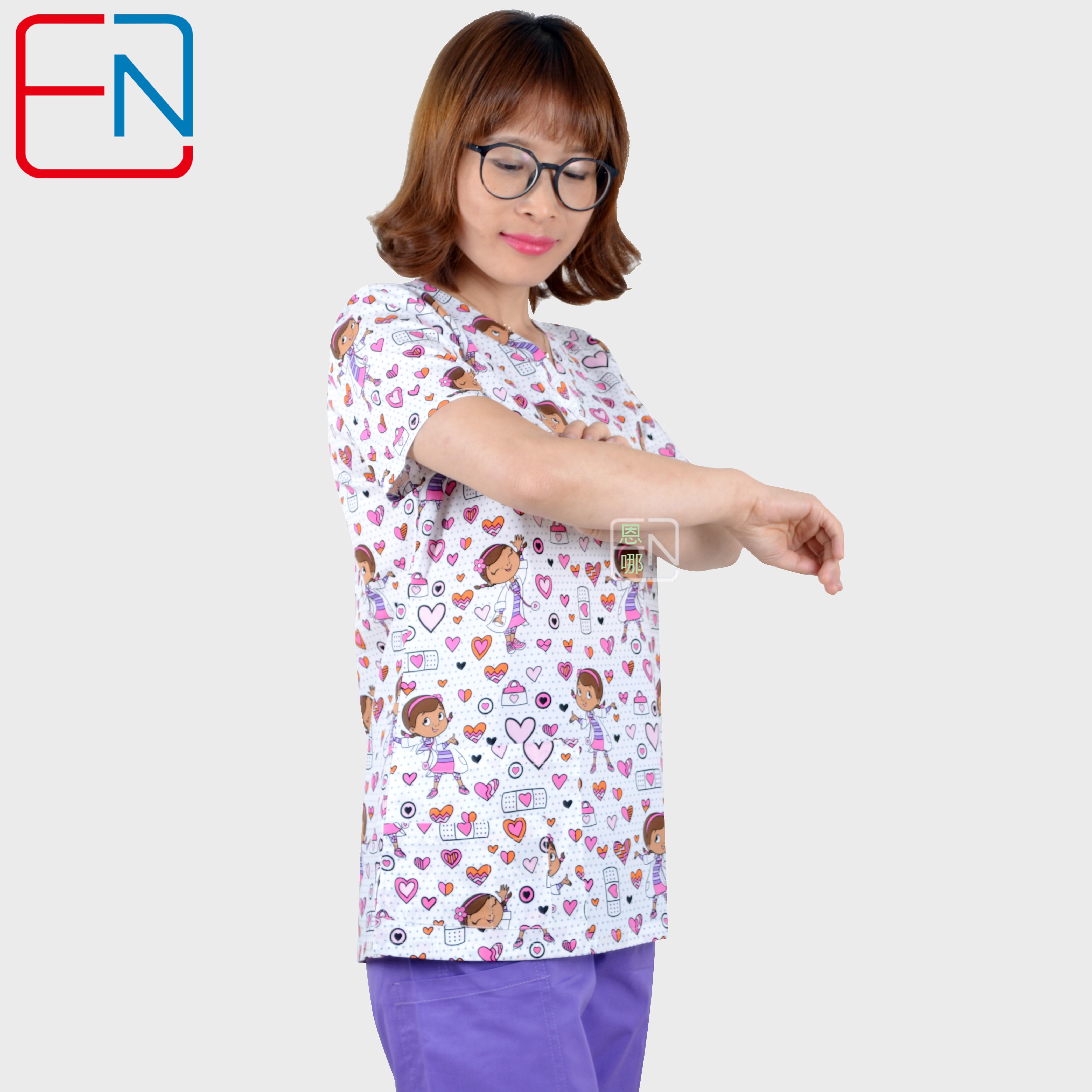 Hennar Women Scrub Uniforms In 100% Cotton Stretchy Fabric With Size Xxs-3xl Floral Prints Women Scrub Tops
