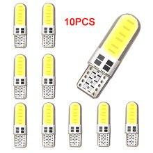 Lâmpada de led para estacionamento 12smd, led w5w t10 194 168 cob, lâmpada clara de sílica, branco brilhante, licença, 10 peças lâmpadas de luz