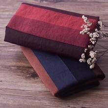 Algodón y lino seda vintage fino rojo azul tela de rayas teñida primavera tela de vestido y falda tissu doux tela suave 0,5 metros