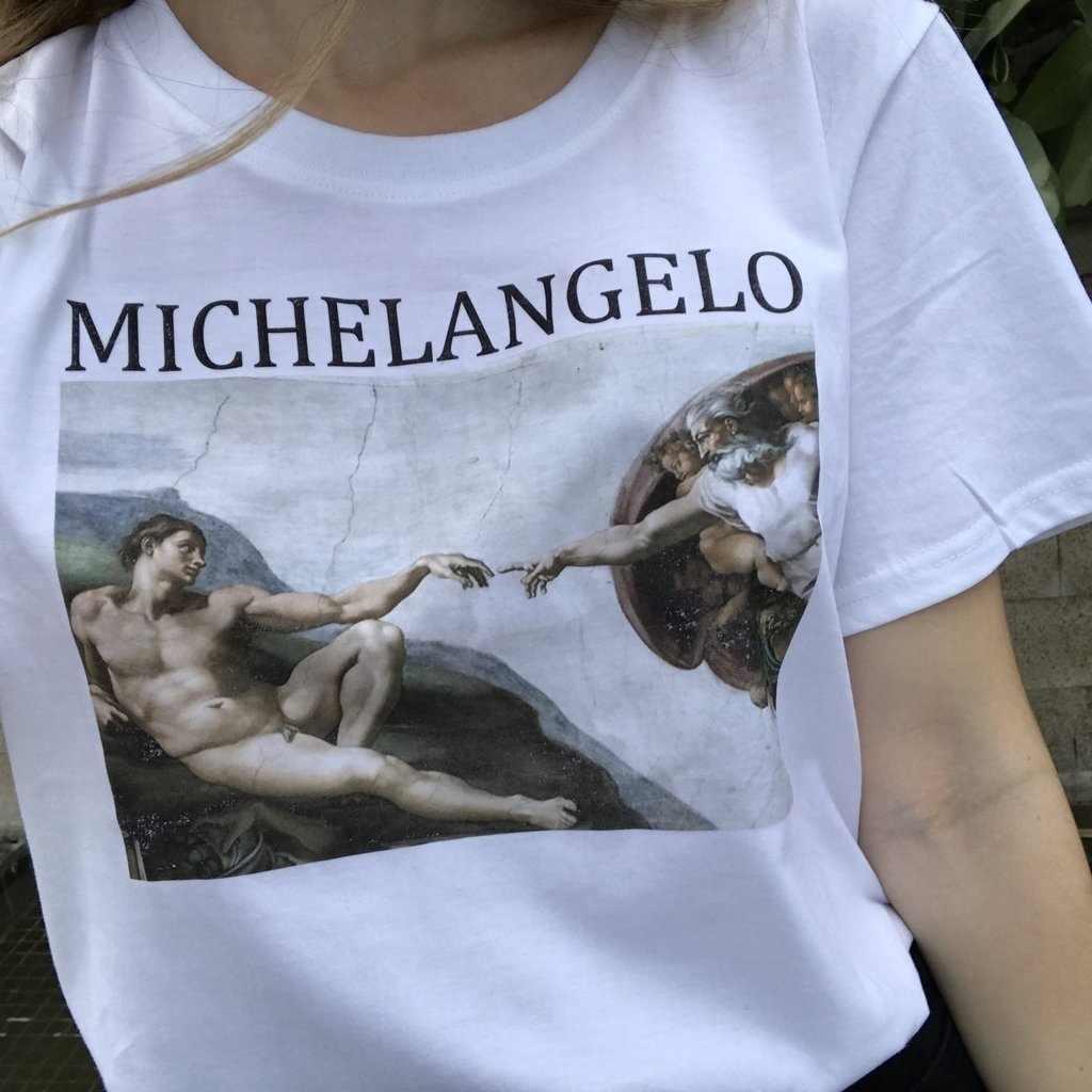 Nieuwe Femme Kleding Korte Mouw T-shirt Michelangelo Sistina Ulzzang T-shirt Art T-shirt Van Gogh Tee Shirt