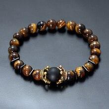 Charme Armband für Männer Mode Luxus Antike crown Hohe qualität Tiger eye stein perlen Armbänder Schmuck Männlichen Pulseira bileklik