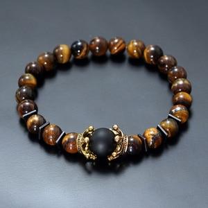 Image 1 - Charme Armband für Männer Mode Luxus Antike crown Hohe qualität Tiger eye stein perlen Armbänder Schmuck Männlichen Pulseira bileklik
