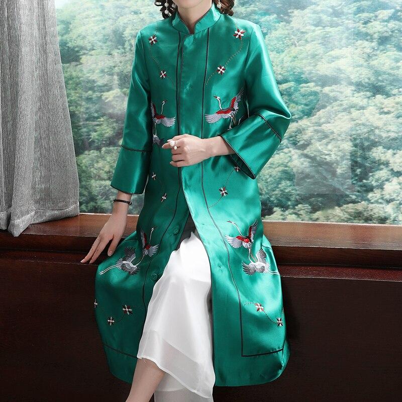 2020 Hanfu Women Long Dress Chinese Style Qing Dynasty Mandarin Collar Cotton Embroidered Female Traditional National Folk Robe